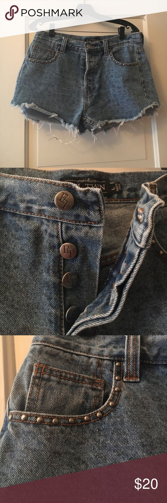 Evil Twin button-fly denim shorts Evil twin distressed style Denim shorts with faint leopard pattern. Worn a few times but great shorts! No longer fit. No stains, rips, or visible wear. Evil Twin Shorts Jean Shorts