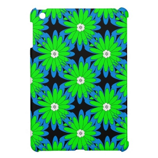 Fun Lime Green and Blue Flower Pattern Case For The iPad Mini
