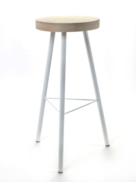 Holly's House - White Bar Stool With Wooden Top
