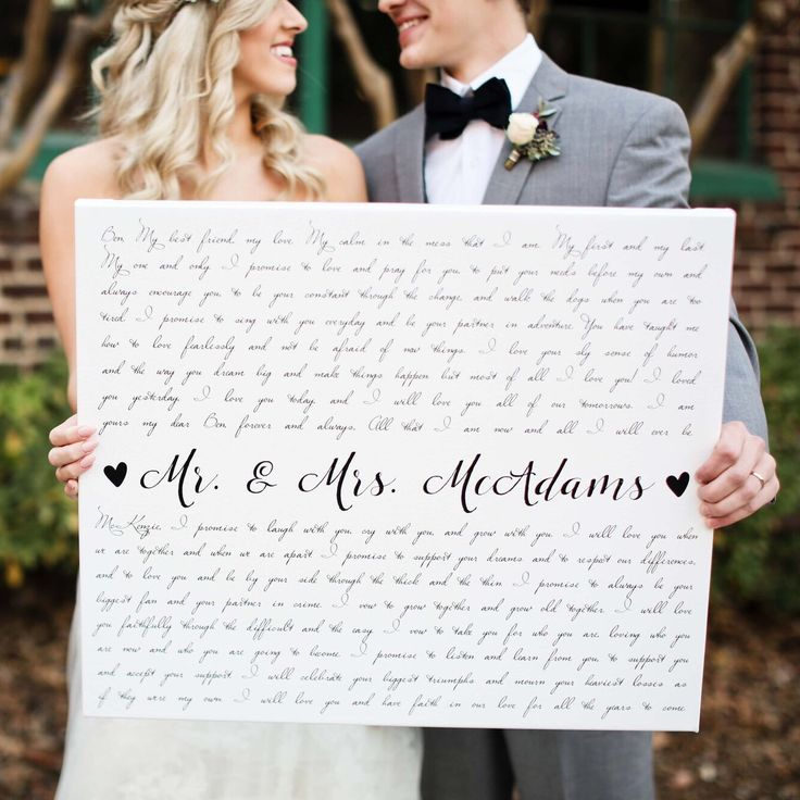 Mr. & Mrs. McAdams with their wedding vow art. ❤️ They LOVED it & are now happily displaying it in their home sweet home as a daily reminder of the promises they made to each other. Surprise your loved one with a special canvas this Valentine's Day. ❤️