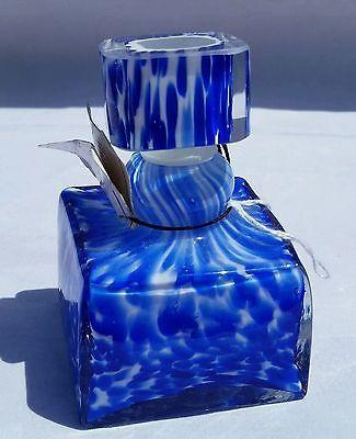 vtg marked murano italy square perfume bottle u0026 stopper cobalt art glass studio