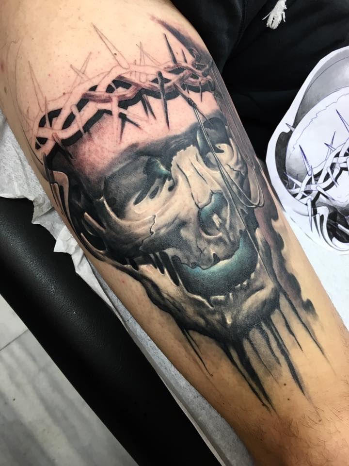 realistic skull tattoo by SKERYONE