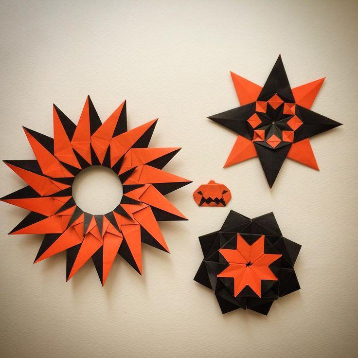 """Sep.14. 2015 通販で注文していた、オレンジ/黒の両面折り紙が届いたのでさっそく両面の色が生かせる作品を折ってみました! 星(マンダラ?)は試作品で、オリジナル作品かどうかリサーチ中です(;^_^A  もし同じの見たことあるよという方いたら教えて下さい‼︎ 「ハロウィンかぼちゃ」はYouTube の「kamikey  origami 」チャンネル内にあります🎃 * The stars are trial pieces  I don't know  these are my original or not😓 Pumpkin 2 designed by me  tutorial  on YouTube """" kamikey origami"""" * #origami#折り紙#ハンドメイド#ハロウィン"""
