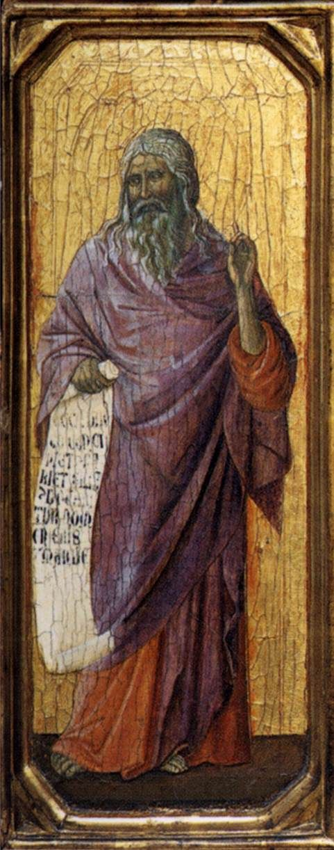 Maestà (front, predella B) The Prophet Isaiah (Duccio di Buoninsegna, 1308-11)