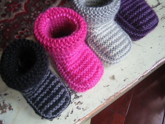 free pattern striped baby booties.