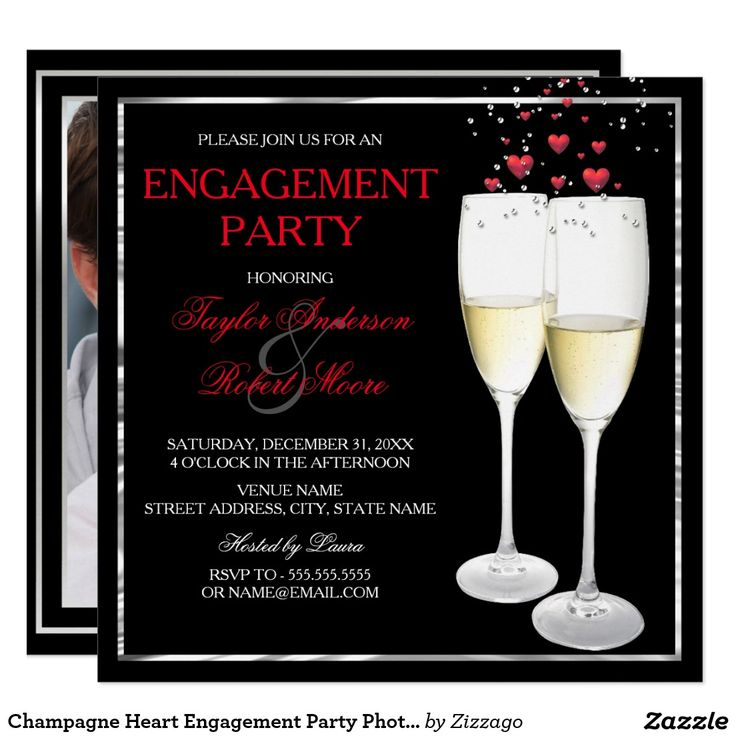 Champagne Heart Engagement Party Photo Invitation