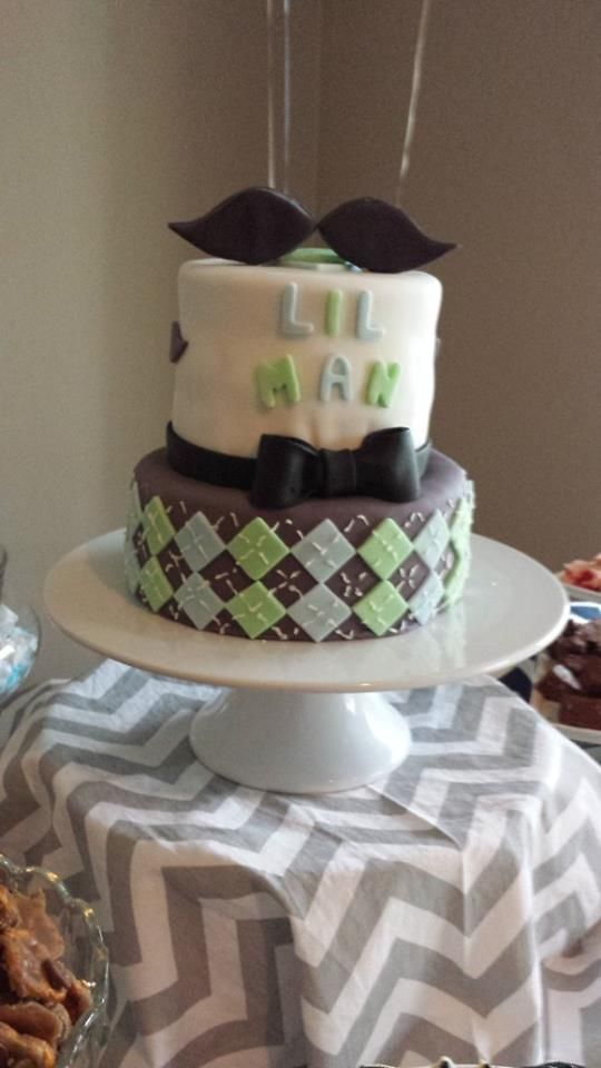 mustache and bow tie theme baby shower little man baby shower cake little man