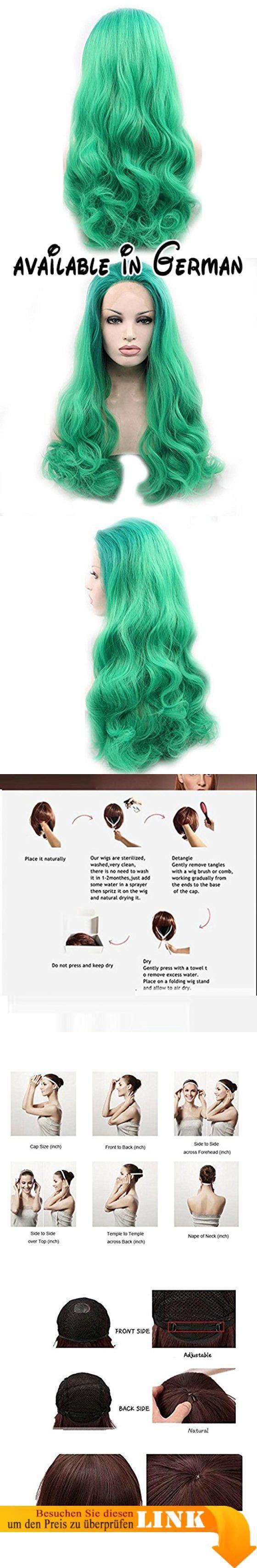 Perücke Europa und Amerika realistische Frau Cosplay grünen großen Wellen vor der Spitze chemische Faser Hochtemperatur Silk Perücke. einzigartige und stilvolle Frisur Perücke aussieht wie ihr echtes Haar.. Die Farbe erhellt Ihre Haut und macht Sie modisch und charmant.. Es ist eine ausgezeichnete Toupet für Männer, fast kein vergießen. Lange dauern.. 100% menschliches Haar-System, weich genug, sieht natürlich, leichte Welle Toupet für Männer, natürlich aussehende,