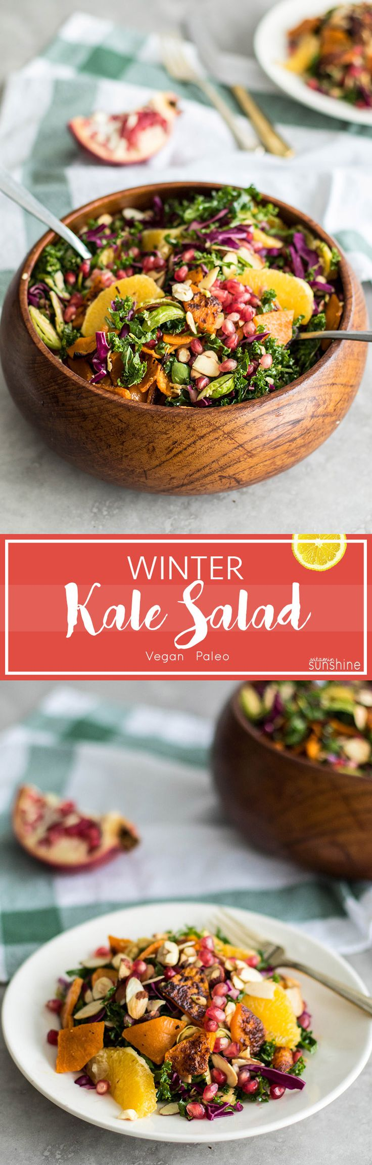 Winter Kale Brussels Sprout Salad / This vibrant winter salad is loaded with pomegranate, oranges, roasted butternut, and crunchy nuts.