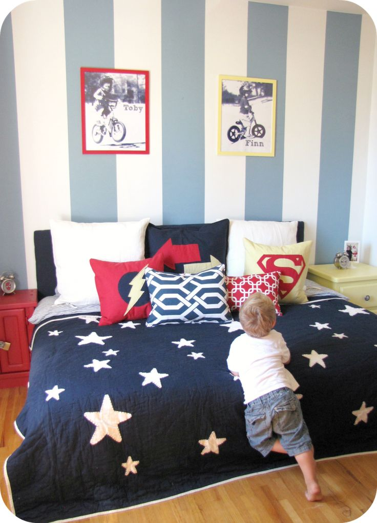Kid Bedroom, : Cool Boy Bedroom Decoration With Star Patterned Bed Sheet Along With Blue Stripe Bedroom Wall And Narrow White Wood Night Stand