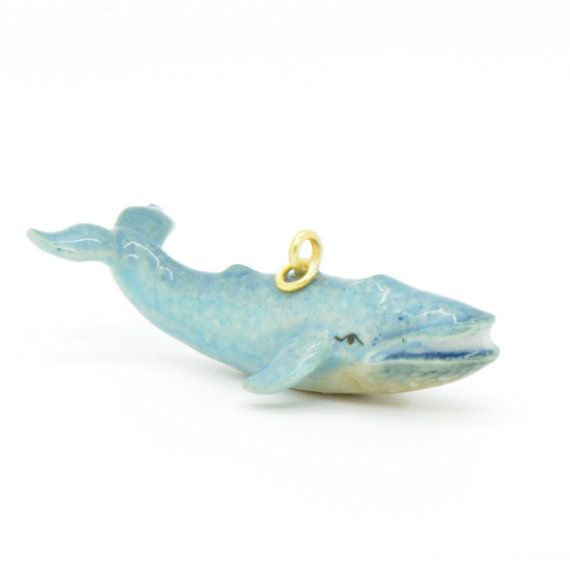 1 - Porcelain BLUE Whale Pendant Hand Painted Glaze Ceramic Animal Small Ceramic Whale Vintage Jewelry Supplies Little Critterz (CA103)