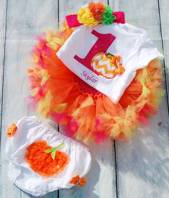 Pumpkin tutu Baby Pumpkin Birthday Baby Fall Birthday by SewsnBows