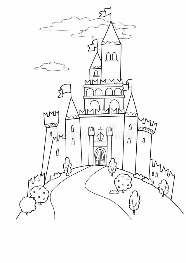 Fairy Tale Castle Fairy Tale Illustration Black And White