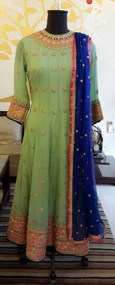 High neck Anarkali with Gotta work for traditional function http://mytailor.in/