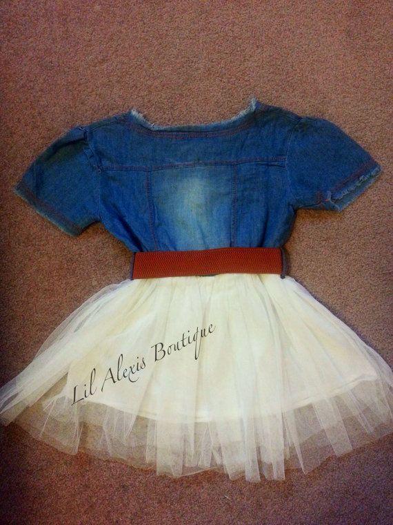 Blue jeans wit tule tutu rok jurk met bruine riem voor meisjes