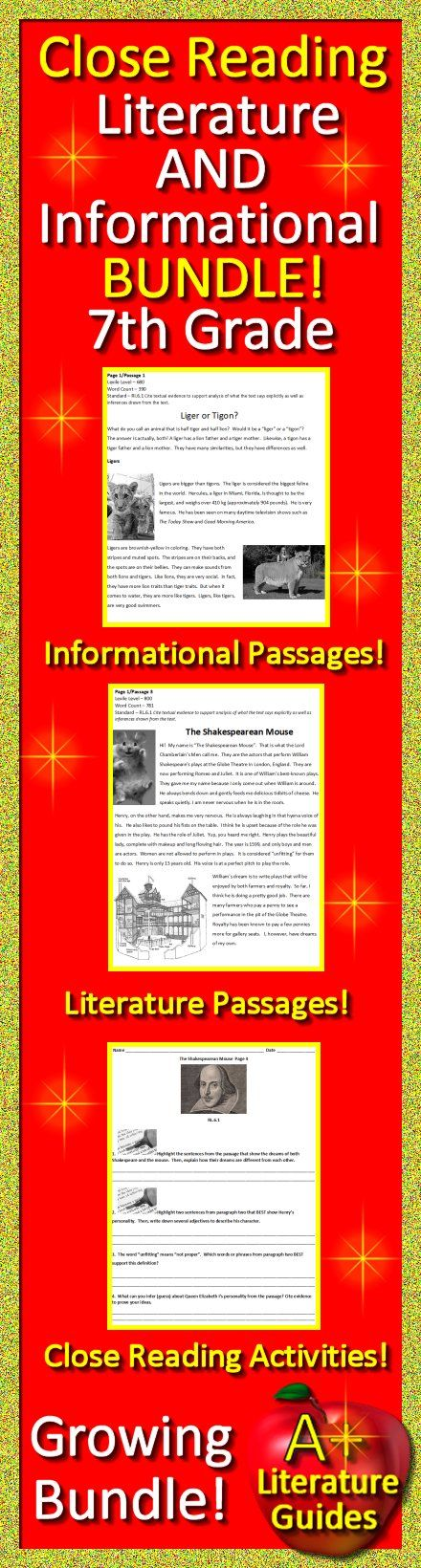 7th Grade Close Reading Informational AND Literature Bundle!  Includes passages AND close reading activities.  Growing Bundle - buy now while price is still low!