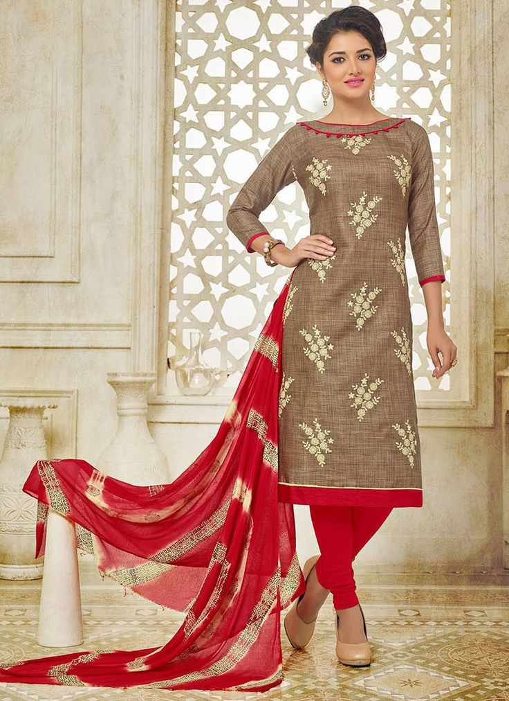 Buy Beckoning Brown Embroidered Work Silk Churidar Suit  #churidarsuit #salwarkameez #churidarsalwar
