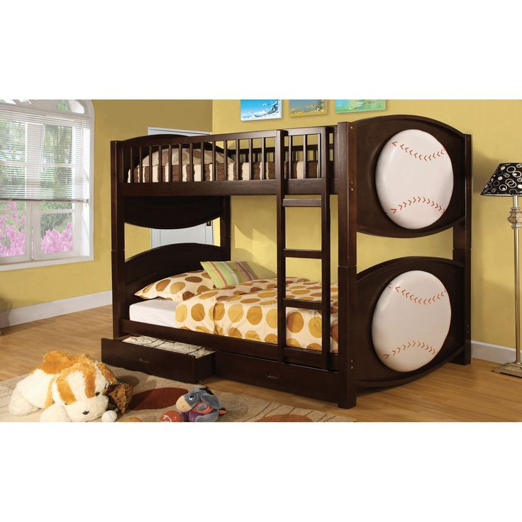 Furniture of America Baseball Twin over Twin Bunk Bed with Storage Drawers - IDF-BK065-BSBL-T