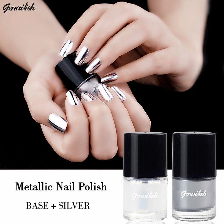 Genailish 2 pz/lotto 6 ml Metallic Nail Polish Argento Effetto Specchio smalto Per Unghie + Strato di BASE Shinning Nail Art Polacco-GD