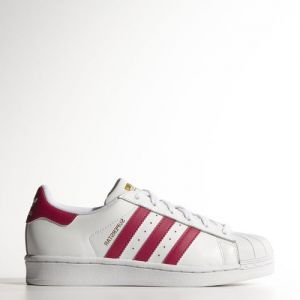 ADIDAS SUPERSTAR LACETS BLANC FUCHSIA les petits souliers a rueil 92500