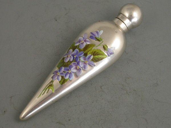 Victorian Silver & Enamel Scent Bottle 'Violets' (England)