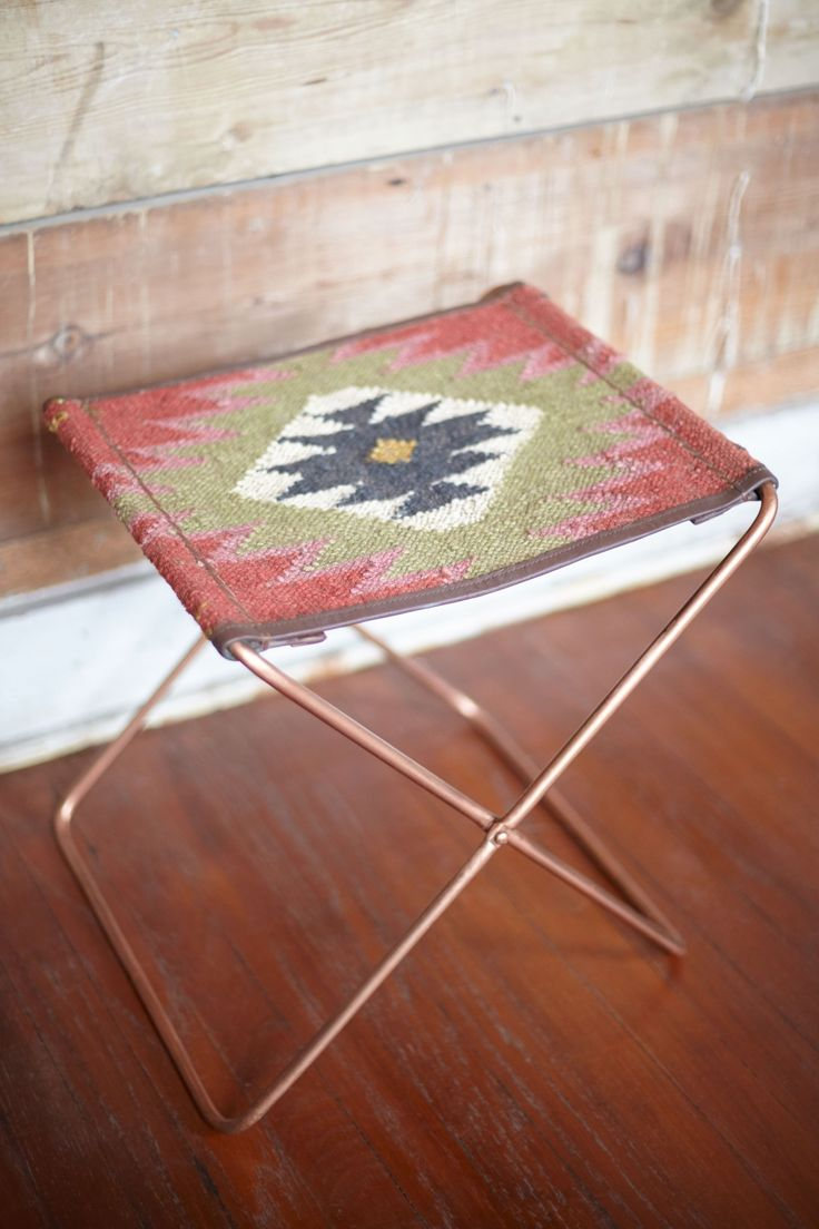 Kilim Fabric Folding Stool - Earthbound Trading Company