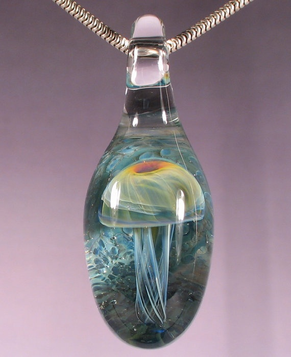 sale blown glass jellyfish pendant lampwork bead by