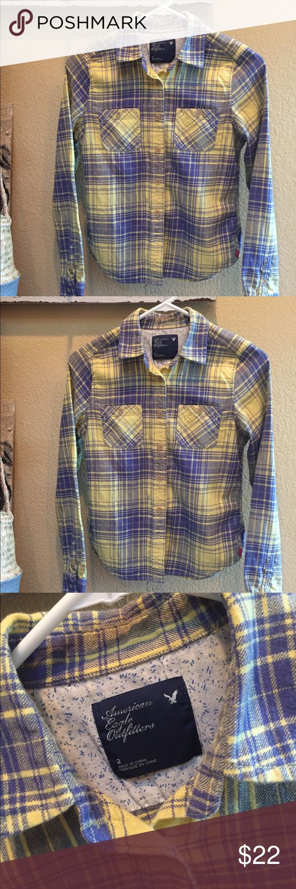 American Eagle Girls Flannel So soft. Size 2 American Eagle flannel in lemon yellow and periwinkle blue. American Eagle Outfitters Shirts & Tops Button Down Shirts