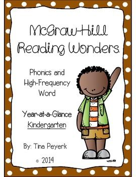 A tool for all KINDERGARTEN teachers using the McGraw-Hill Reading Wonders program. This is a one page sheet with phonics skills and HFW. Simply print and place in your teacher binder for easy access planning.