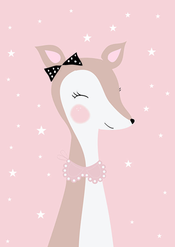 Poster Hertje A4. Een lieve hertjes poster in zacht roze. Schattige…