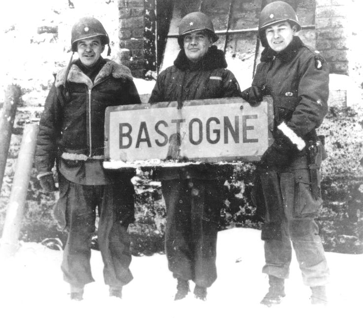 "The 101st Airborne's Brigadier General Anthony McAuliffe, center, flanked by Lt. Col. Danahy and Lt. Col. Kinnard. McAuliffe issued the defiant reply ""Nuts!"" to the Germans' demands he surrender at Bastogne."