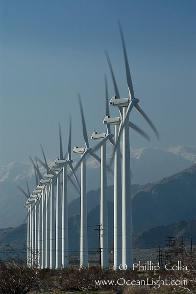 Wind turbines provide electricity to Palm Springs and the Coachella Valley of California.