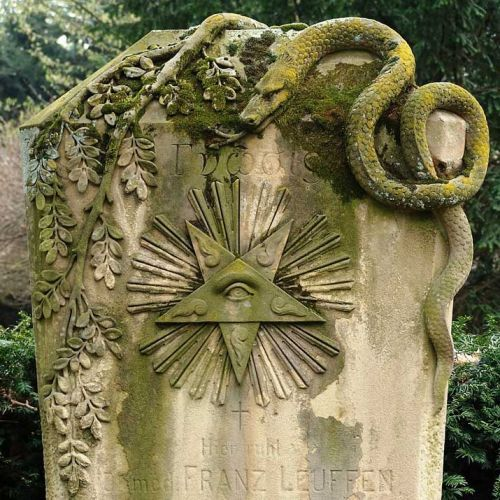 Melaten Cemetery, Cologne. Tombstone of Dr. Franz Leuffen, the author of a book concerning post-mortem examinations, written in the 1860s. Dr. Leuffen died in 1900.