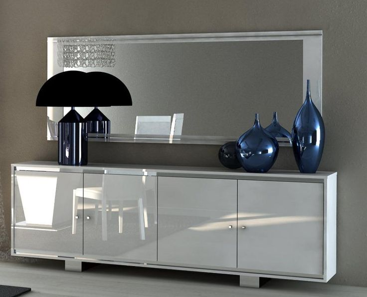 Caprice, Contemporary 4 Door Sideboard In White High Gloss With Doors In  Gloss/Glass/Croco