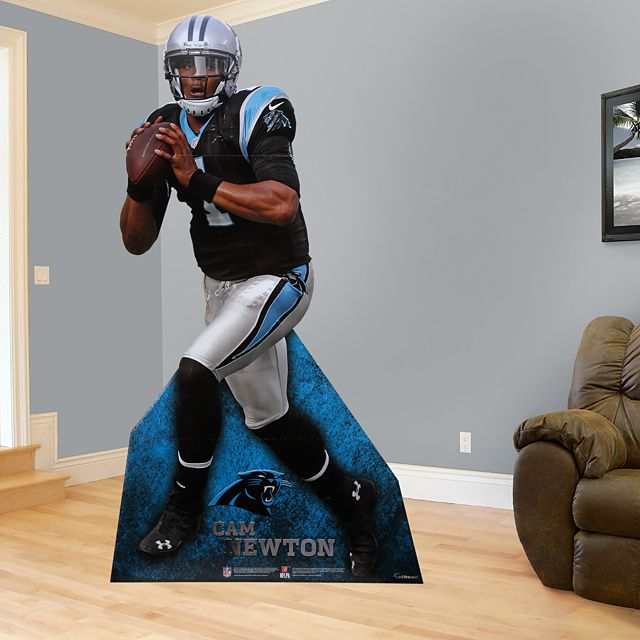 Cam Newton Stand Out | The built in supports snap into place to get your Stand Out up quickly and fold away for easy transportation. SHOP  http://www.fathead.com/nfl/carolina-panthers/cam-newton-stand-out-life-size-cut-out/ | Man Cave | Kids Bedroom | Boys Bedroom