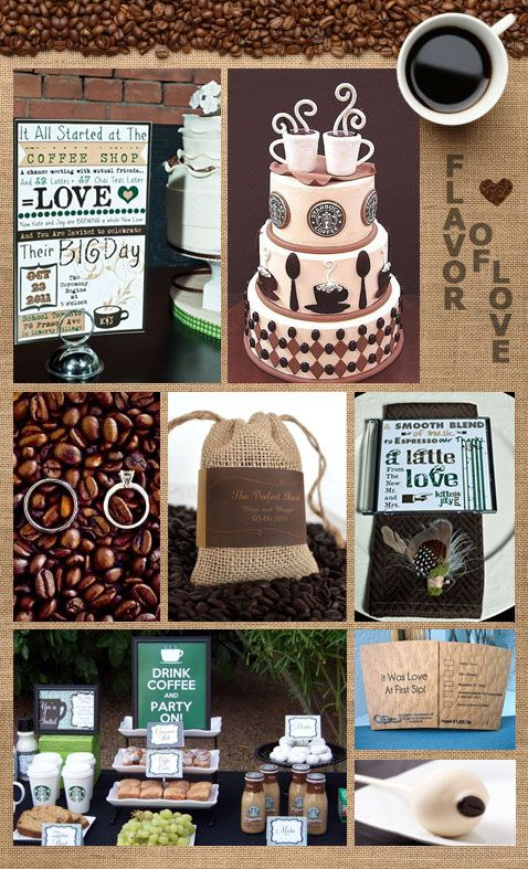 Coffee-themed wedding day details for you java junkies out there ♥can I PLEASE have a coffee themed bridal shower!!!!!