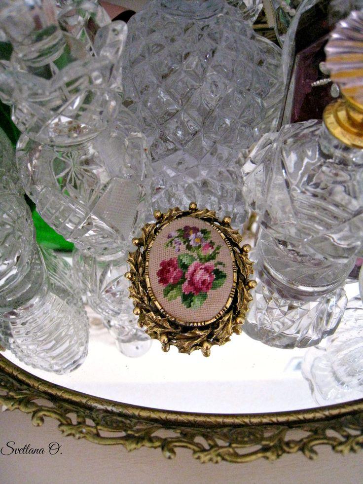 Brooch. Petit point. Handmade by Svetlana.O.