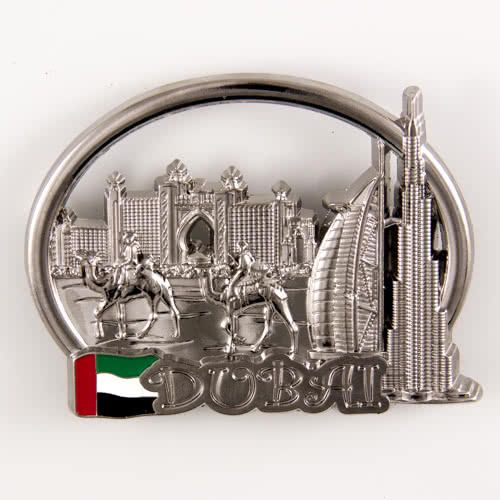 Metal Fridge Magnet Abu Dhabi Attractions United Arab Emirates Bronze Color