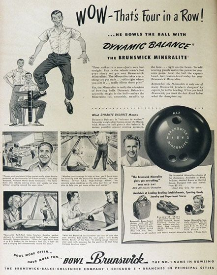 1948 Vintage Brunswick Mineralite Bowling Ball Ad, Vintage Sporting Goods ~ Other