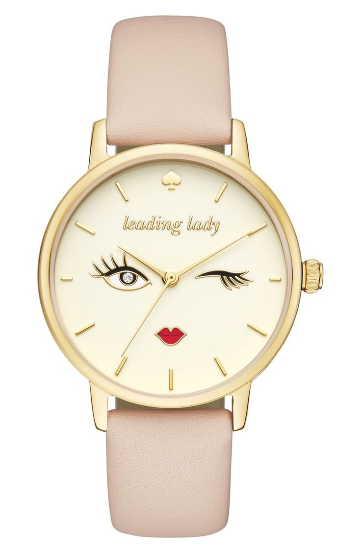 "A subtle palette turns the spotlight on this playful Kate Spade watch's charicature dial that's an encouraging reminder to go be the ""leading lady""."