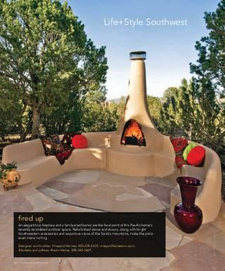 A taste of a New Mexican outdoor living space with built in seating and Chiminaya.