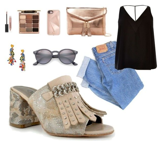 """Look con zapatos Valerio City Chic"" by dani-zarate-chiodo on Polyvore featuring Levi's, River Island, Urban Expressions, Tory Burch, Burberry, Stila, Ray-Ban and Rebecca Minkoff"