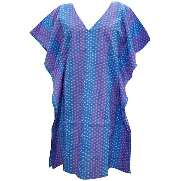 Womans Beach kaftan tunic Dress Kimono Sleeves Short Caftan Blue... ($20) ❤ liked on Polyvore featuring swimwear, cover-ups, beach cover ups, blue kaftan, beach wear, short caftan and beach kaftan cover ups