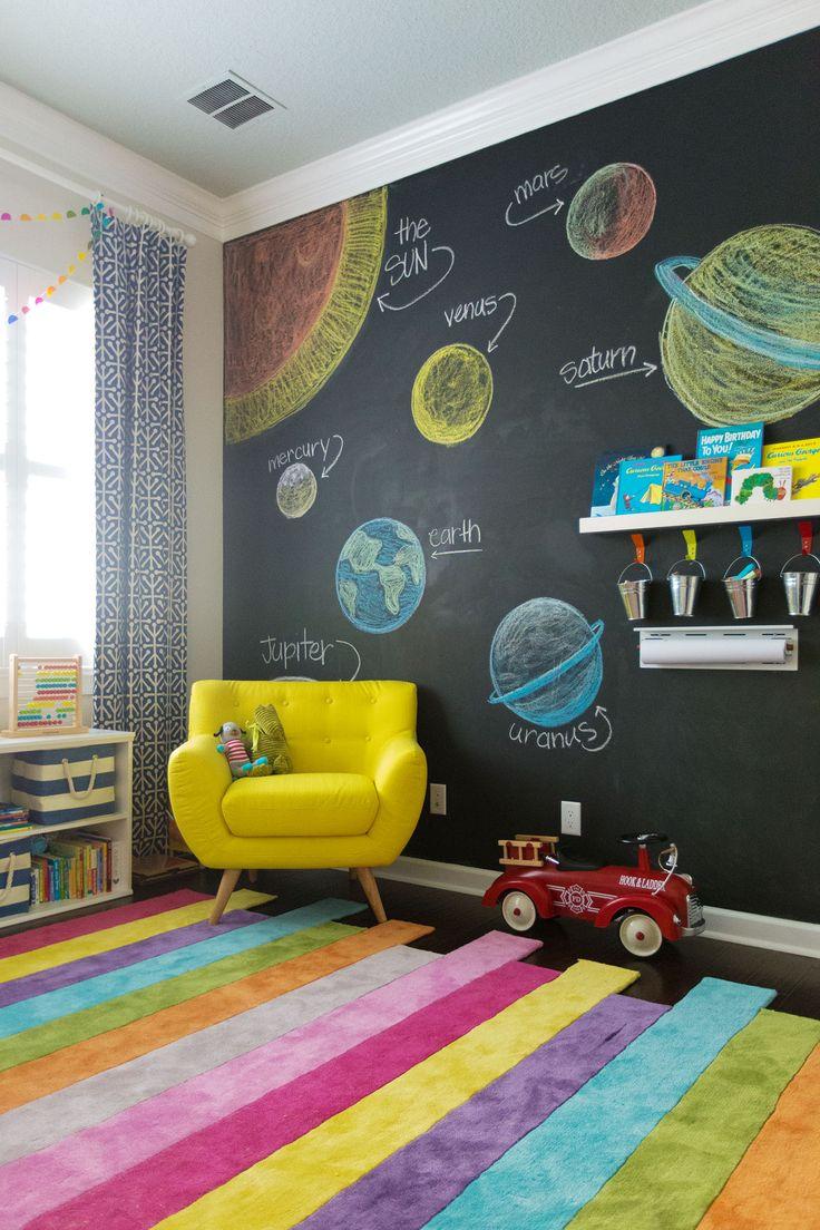 Tafel an der Wand unseres Kinderzimmers. Eine schöne Idee, um Ihnen das Sonnensystem und vieles mehr beizubringen. Mini-Universum