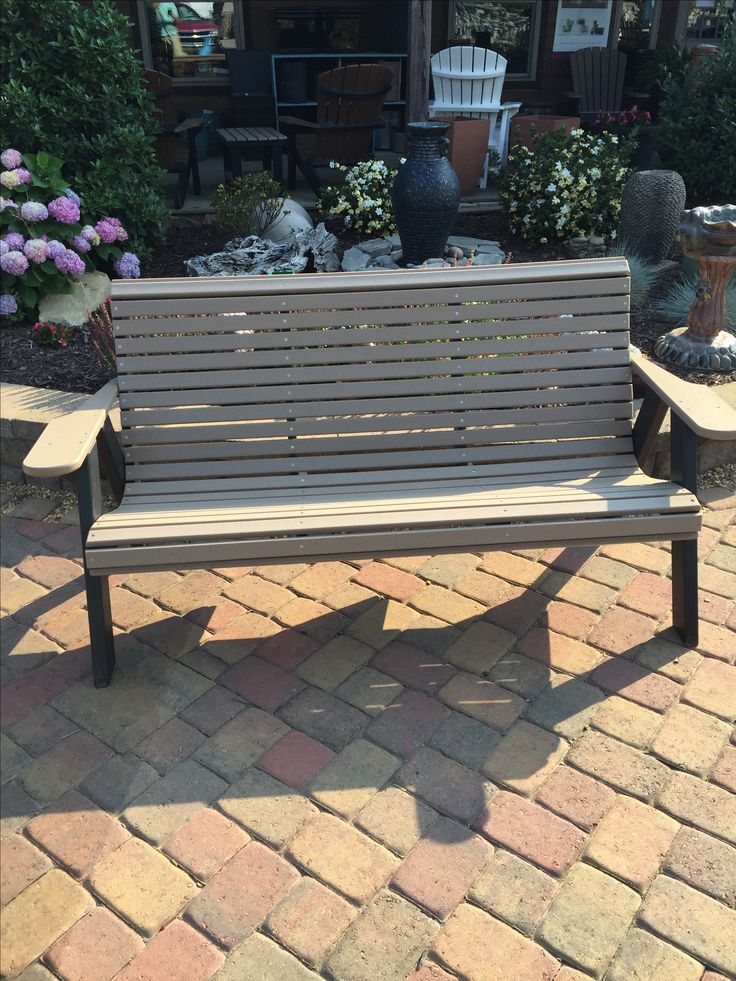 5u0027 Poly Lumber Rollback Bench. Weatheredwood / Black. New Shipments  Arriving Every 3. Patio
