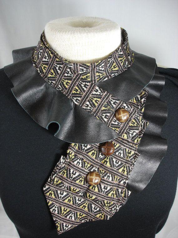 Repurposed Necktie Ruffled Collar In Browns with by Rumpelsilkskin