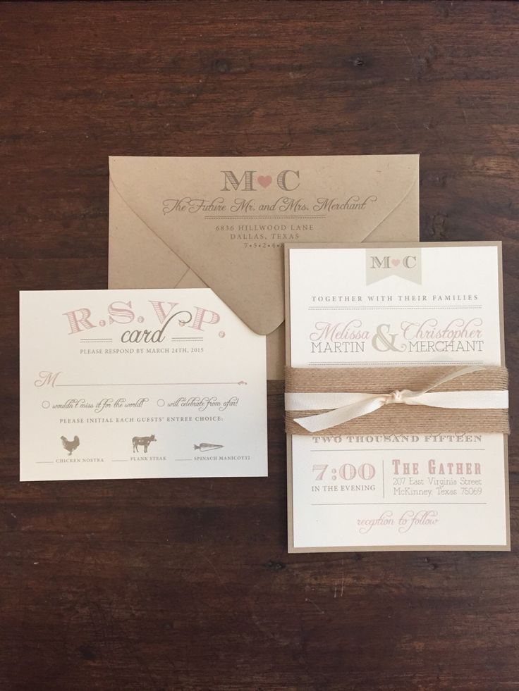 Wedding Invitation Suite Rustic and Vintage