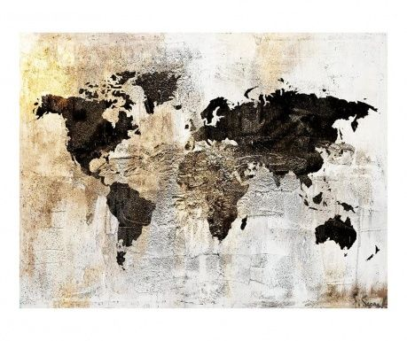 Tablou Gold Worldmap Glow