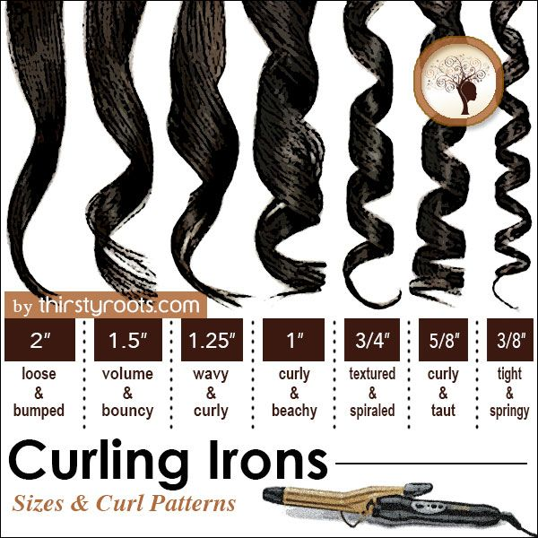 Above you can find a chart (infographic) that we created with common curling iron curl sizes that can be achieved with 7 different barrel irons on the market.