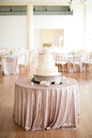 Cake Table with Gold Sparkle Linen | photography by http://www.hsrphoto.com